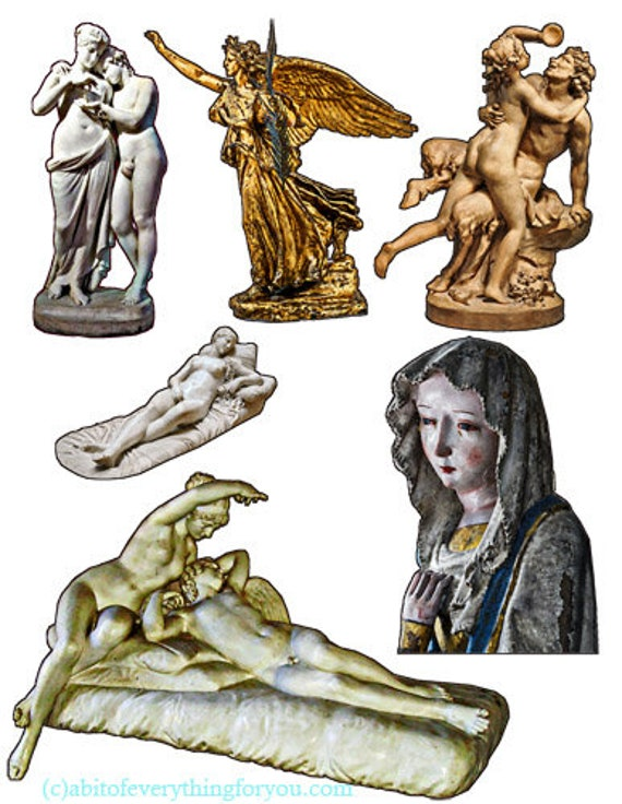 nude male female ancient statues clipart png printable jpg instant download digital image graphics downloadable artwork