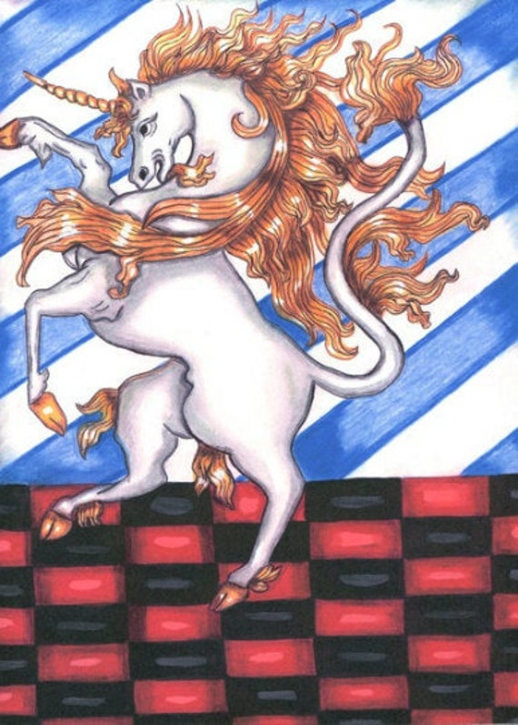 white unicorn horse original art print fairytale folk art original ink drawing artwork fantasy fairytale modern artwork Elizavella Bowers