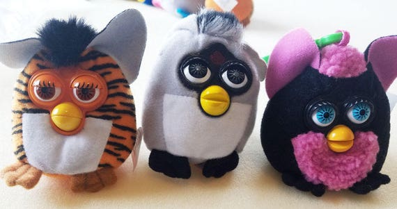 3 FURBY plush KEYCHAINS lot Backpack Clip Ons fast food stuffed toys collectible