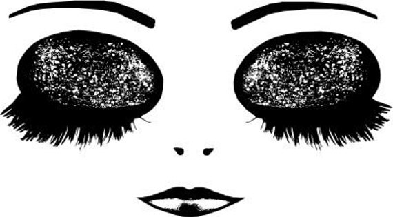sleeping doll eyes lips printable big eye art clipart png download digital image face graphics downloadable black and white