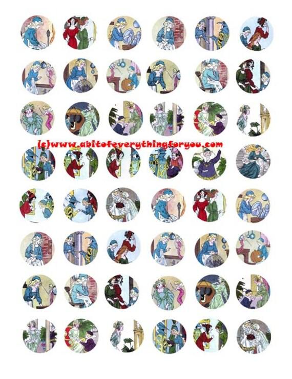 "vintage cinderella fairytale clipart digital download collage sheet 1"" inch circles images pendant pin magnet printables"