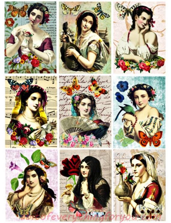 printable collage sheet renaissance women Spring beauties art 2.5 x 3.5 inch images clipart digital download graphics downloadable images