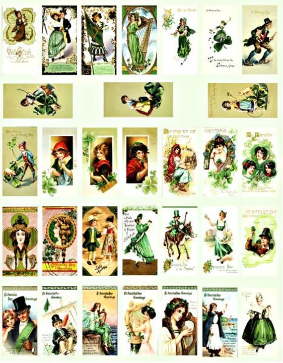 "saint pattys day st patricks day irish clip art digital download domino collage sheet 1"" x 2"" inch vintage graphics images printables"