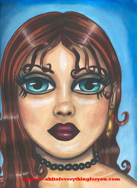big Blue eyed Nude mermaid sea goddess sea nymph siren original fantasy art print Girl face 9x12 big eye art womans face