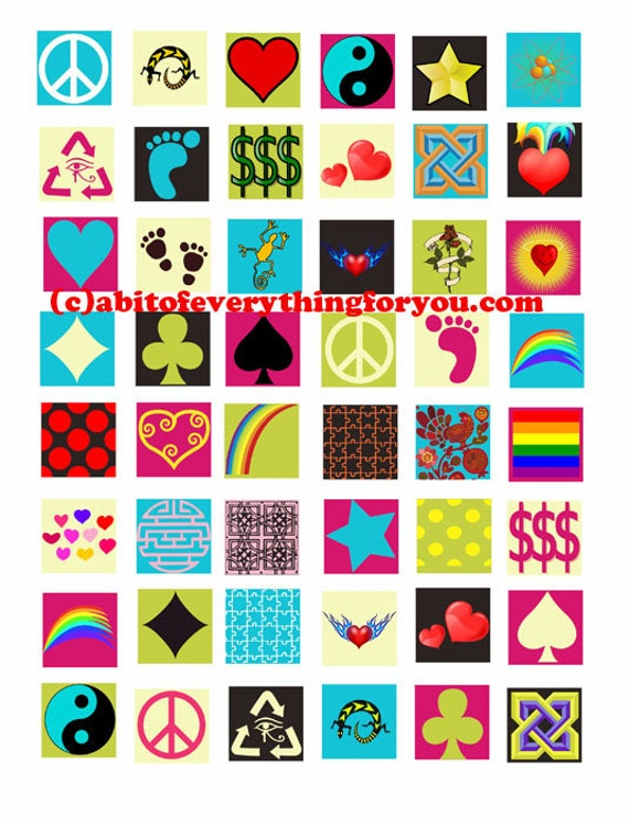 downloadable collage sheets icons shapes clip art download 1 inch squares printable  for pendants magnets, bezel settings