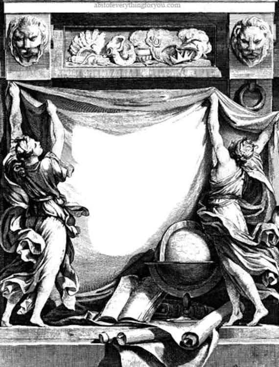 Goddess lions frame printable art page border clipart png jpg downloadable digital vintage image graphics fantasy medieval digital download