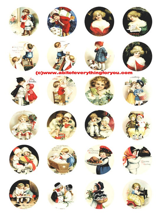 "Victorian children girls boys postcard art clip art digital download collage sheet 1.5"" inch circles graphics images craft printables"