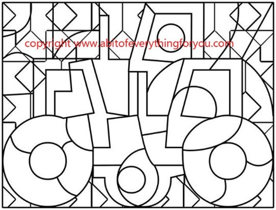 Abstract Tractor Art Coloring Page printables Adult Kids Colouring Pages line art Kids Craft Activity digital stamp