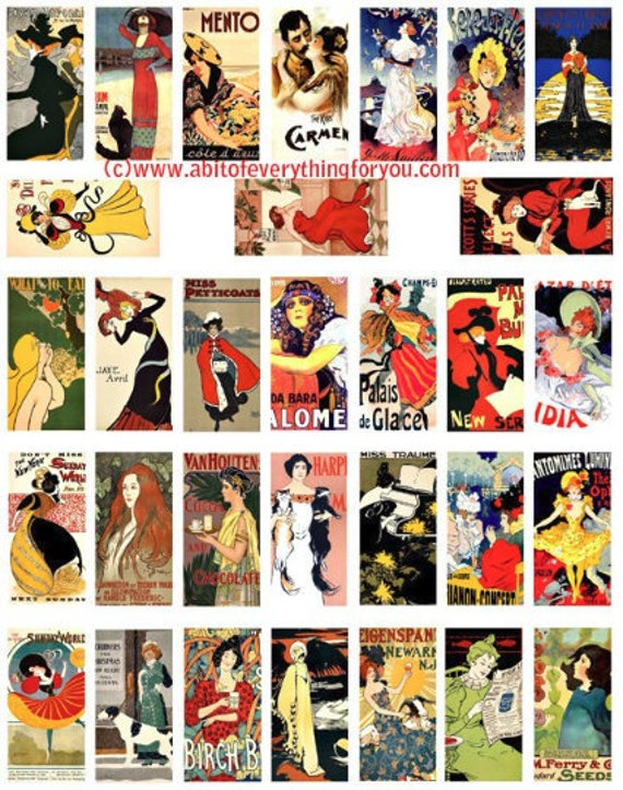 """vintage french deco advertisements domino clipart domino collage sheet 1"""" x 2"""" inch images digital download domino graphics printables"""