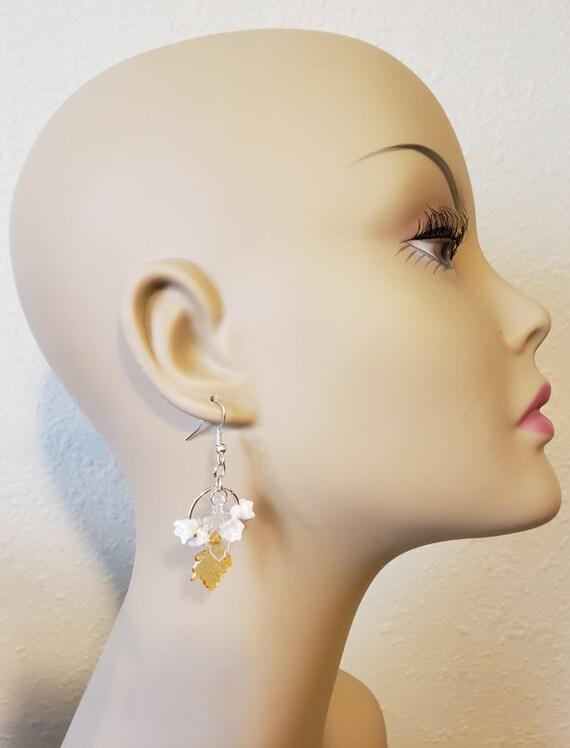 white flower leaf hoop earrings dangles handmade floral plastic metal jewelry
