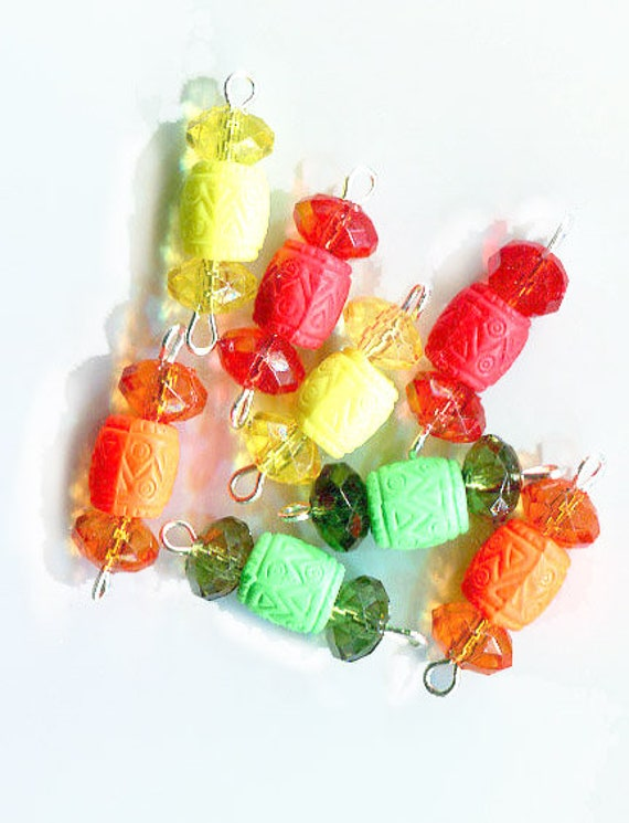 crystal drops charms barrel bead pendants 25mm acrylic plastic 8 piece jewelry