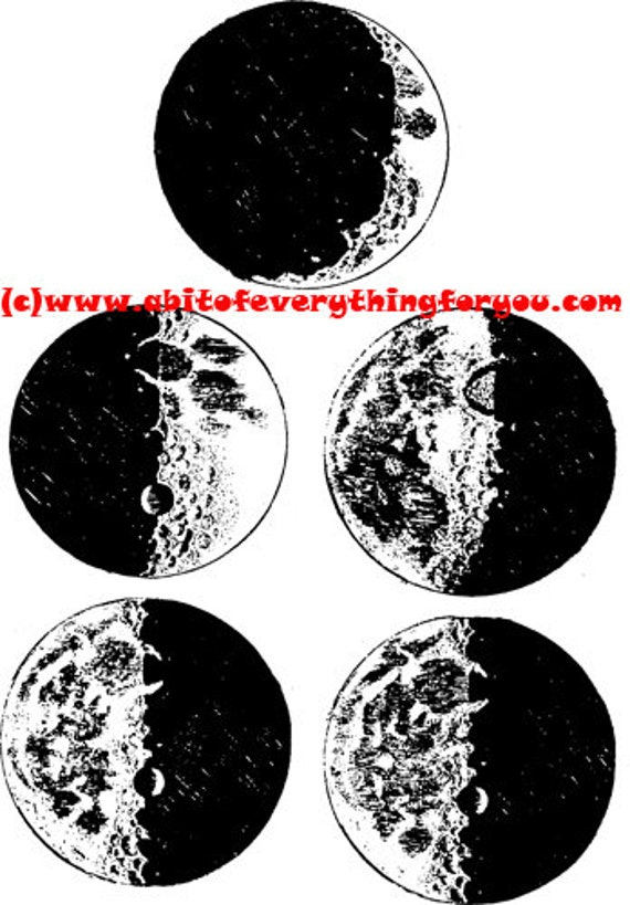 Vintage Moon phases Sketches printable art print clipart png jpg instant download digital image graphics black and white astronomy art
