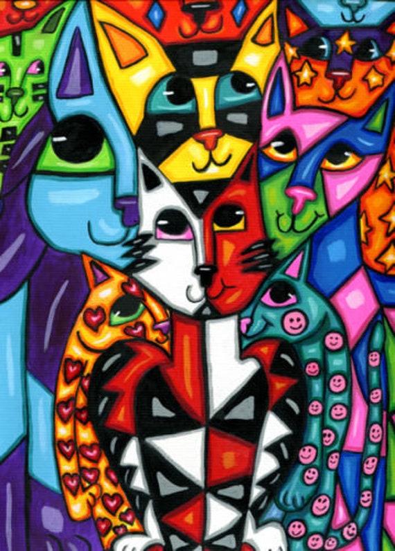 "colorful kitty cat art original painting abstract animal paintings modern pets hearts stars 9"" x 12"" acrylics kids room nursery home decor"