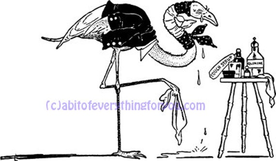 printable sick stork bird cartoon art print clipart png downloadable wildlife animal nature digital download vintage image graphics