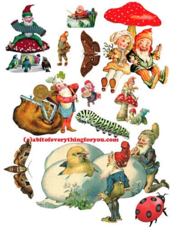 Elves gnomes die cuts clipart digital download craft cut outs sheet graphics images craft paper printables