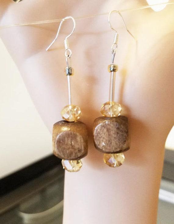 brown earrings, big bead earrings, long dangles, wood ,glass,  chunky boho jewelry