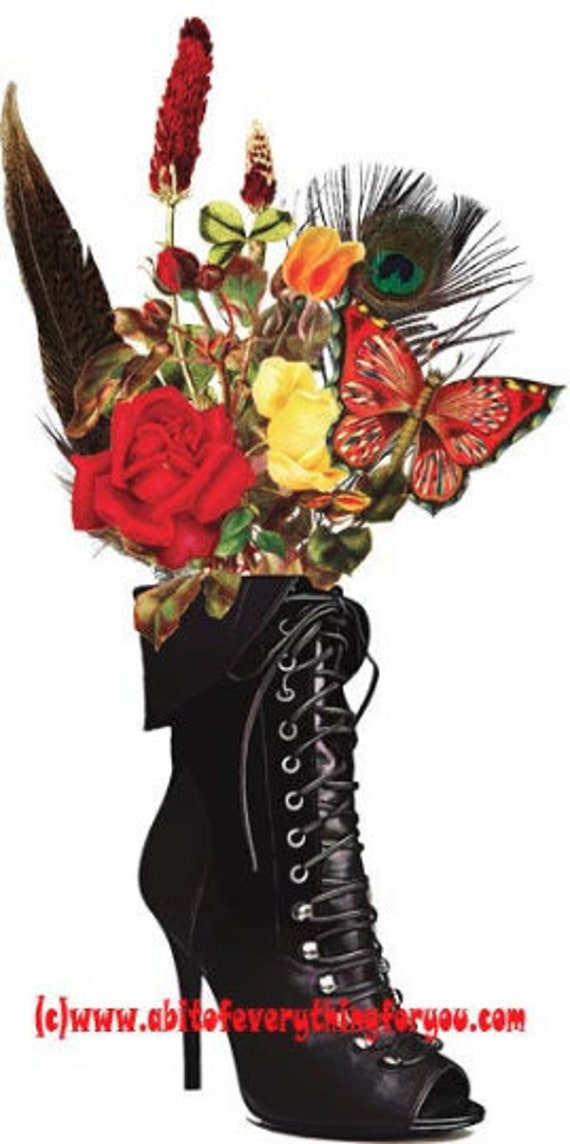 black lace goth boot vase flowers printable art print clipart png download digital image graphics high heel shoe artwork