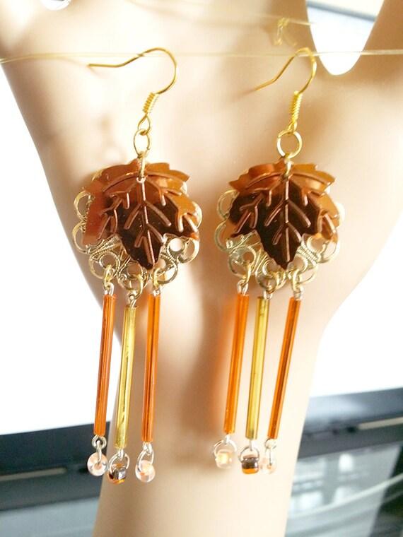 brown and gold leaf chandelier earrings, bead drop long dangles handmade jewelry