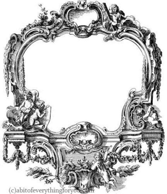 antique ornamental angel cupids frame printable art clipart png jpg downloadable digital vintage image graphics digital stamp black diy