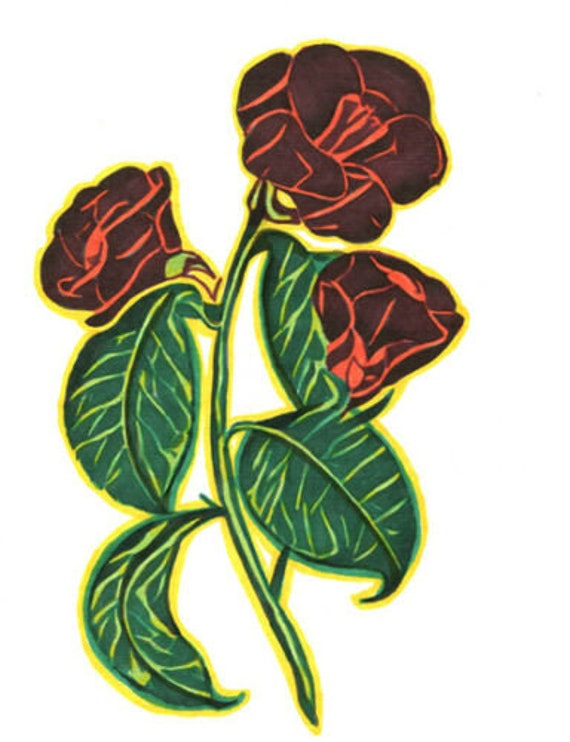 original drawing red roses green leaves flowers abstract art ink markers modern minimal artwork Elizavella