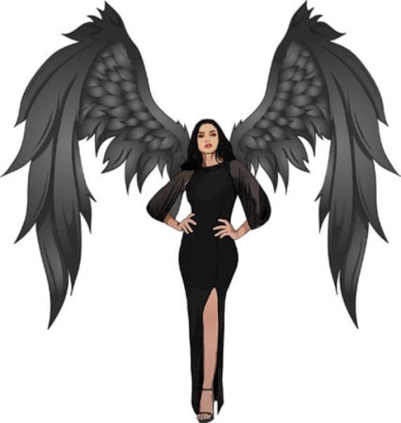 Gothic Dark Angel Woman Fantasy Pinup Girl printable art clipart png jpg instant download digital downloadable image graphics designs