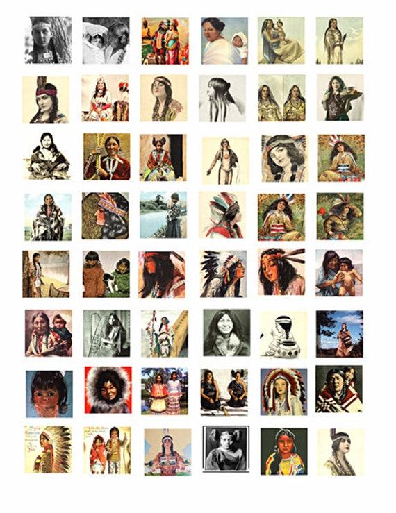 vintage native american indian women children art collage sheet digital download 1 inch squares graphics images printables pendants pins