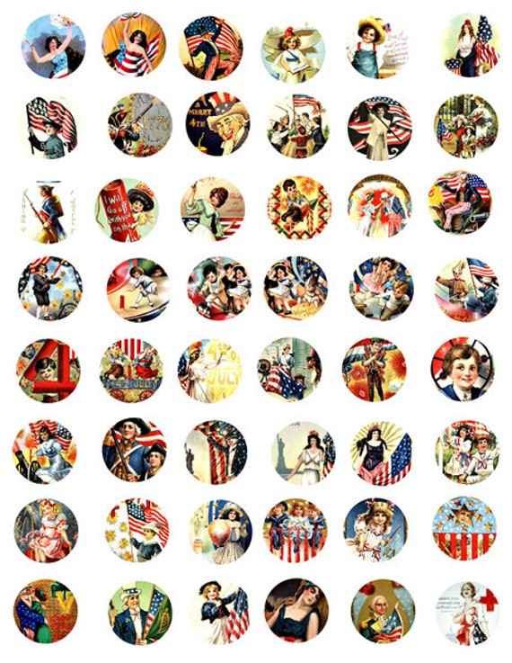"vintage americana patriotic USA Flag art clipart digital download 4th of july collage sheet 1"" inch circles graphics images printables"