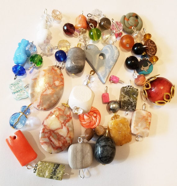 42 bead drops clay stone pendants charms mixed lot glass plastic beads jewelry