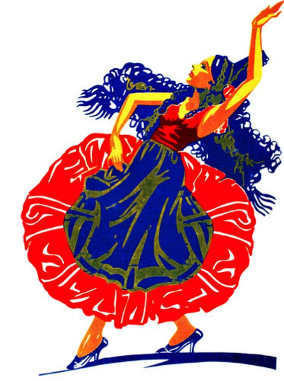 spanish lady flamenco dancer printable art clipart png download digital vintage image graphics