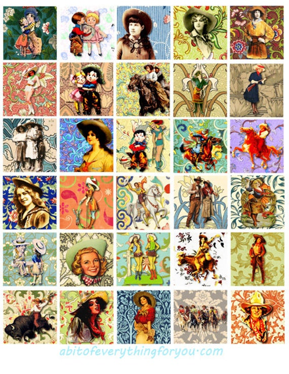 cowgirls flowers country western art collage sheet 1 inch squares faces clipart digital downloadable rodeo ranch horses printable images