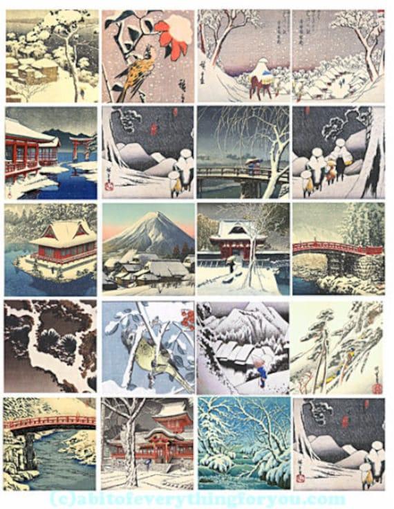 printable digital collage sheet snow landscape winter clipart 2 inch squares downloadable images pendants diy jewelry making scrapbook