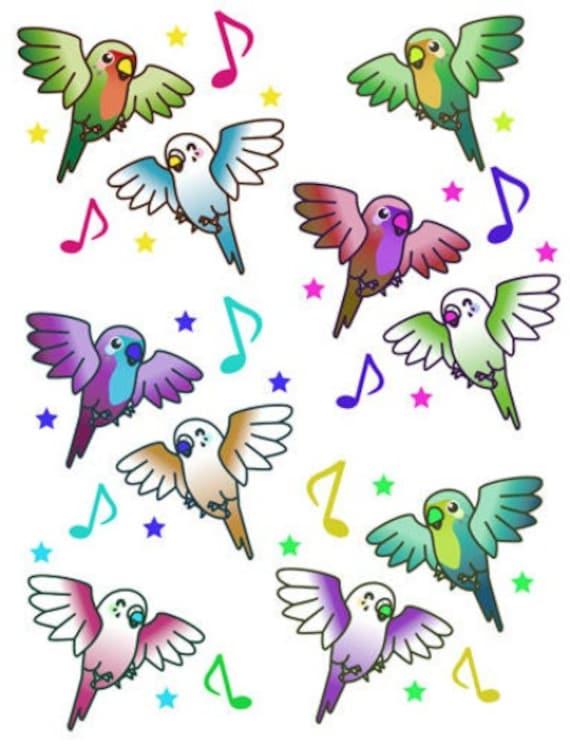 cartoon birds musical notes pattern png jpg printable art collage sheet nursery digital download  die cuts animals wildlife graphics images