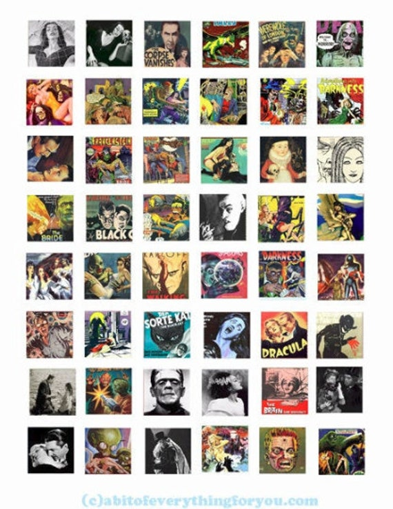 """creatures monsters movies posters comics collage sheet 1"""" inch squares printable digital download horror graphics images jewelry making"""