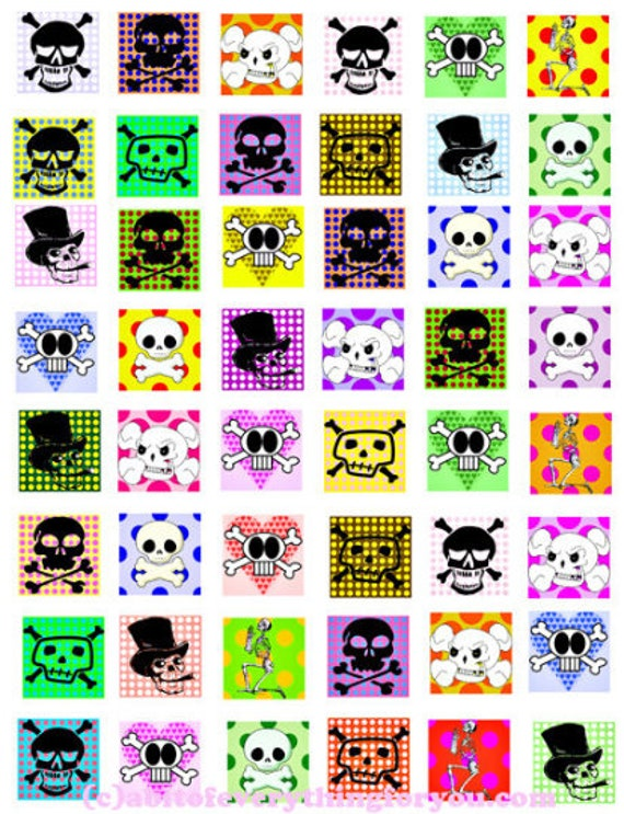 digital download collage sheet cartoon skulls polka dots day of the dead clipart 1 inch squares images printables diy pendant jewelry making
