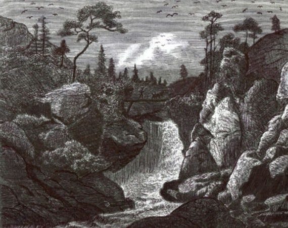 original art pen drawing water fall trees landscape modern art illustration ink drawings forest scene By Elizavella