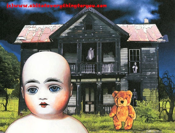 creepy Doll art print original haunted mansion teddy bear supernatural evil toys demons devils dark fantasy sci fi goth spooky scary art