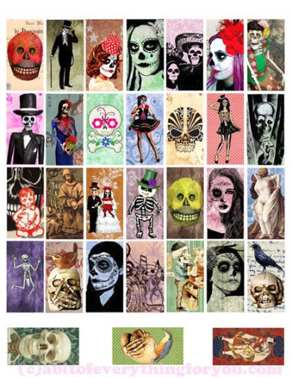"sugar skulls skeletons day of the dead printable clipart digital download domino collage sheet 1"" x 2"" dia de los muertos images diy jewelry"