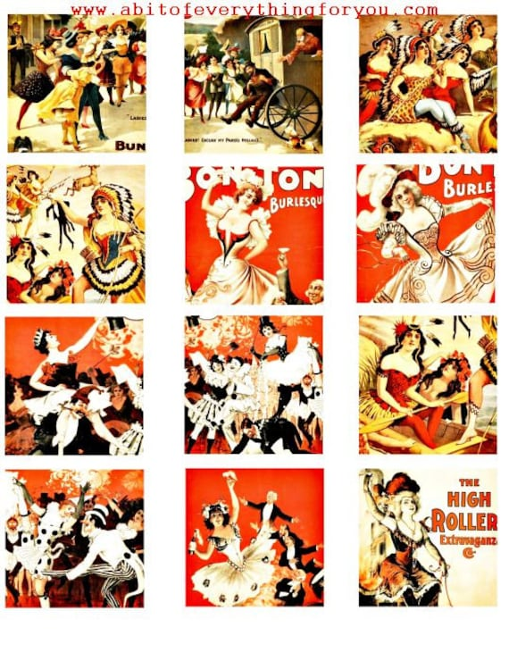 1800s burlesque dancers strippers vintage art clip art digital download collage sheet 2.25 inch squares graphics images printables
