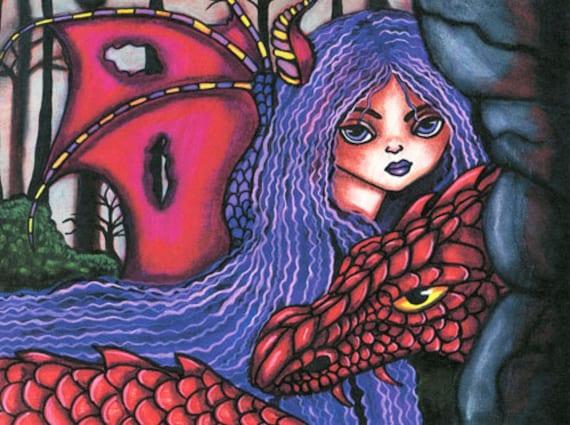 Red Dragon Purple fairy original art print modern fantasy fairytales artwork