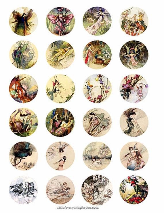 victorian vintage fairy fairies collage sheet 1.5 inch circles clip art digital downloadable graphics images bottlecap pendant printables