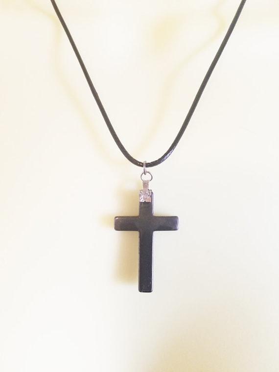 black cross necklace hematite stone pendant cord religious jewelry