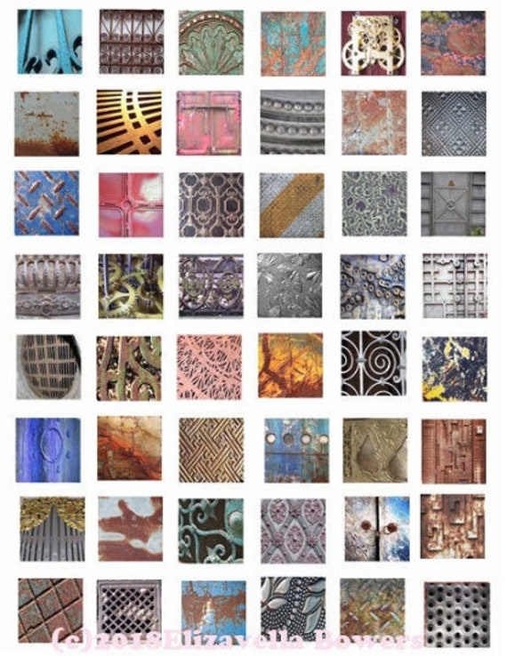 """collage sheet metals grunge digital download 1"""" inch squares graphics steampunk images printables diy crafts jewelry making scrapbooking"""