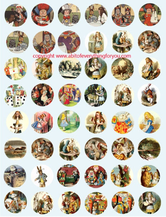 vintage alice in wonderland art clip art digital download collage sheet 1 inch circles graphics images printables for pendants pins magnets