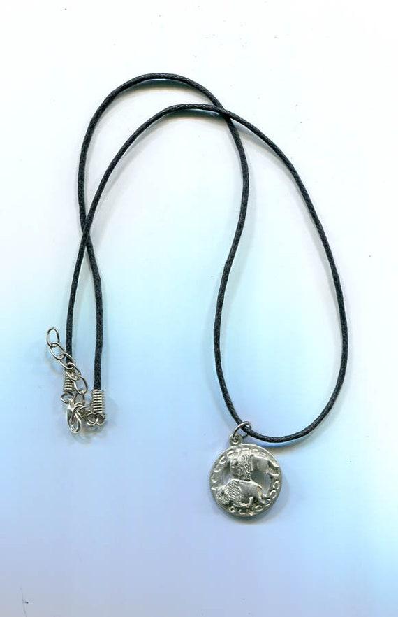 "buffalo bison charm NECKLACE animal pendant black 18"" cord handmade minimal simple jewelry"