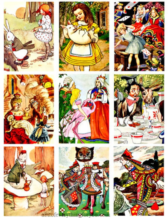 "antique alice in wonderland art clipart digital download collage sheet 2.5"" x 3.5"" inch graphics images printables aceos fantasy fairytales"