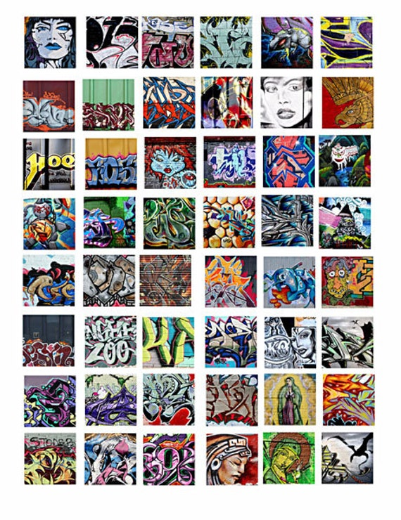 """Graffiti abstract art collage sheet 1"""" inch squares pendants digital download graphics images printables pins magnets diy crafts"""