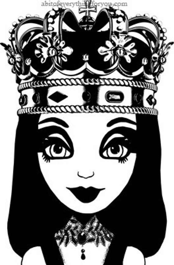 queen big eye girl printable art clipart png download digital image graphics kids room art crafts black and white artwork