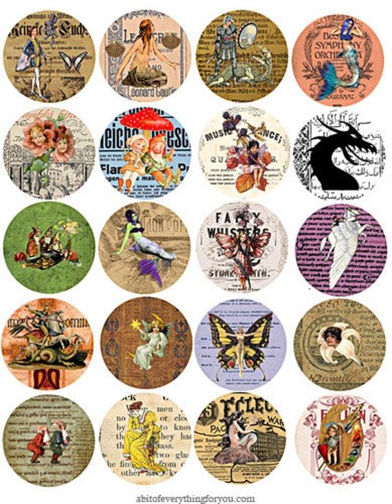collage sheet 2 inch circles vintage fairytale fantasy creatures old ephemera downloadable clipart digital graphics images DIY cameo pendant