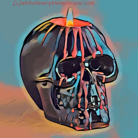 abstract skull candle skeletons printable art print digital download image graphics downloadable day of the dead goth