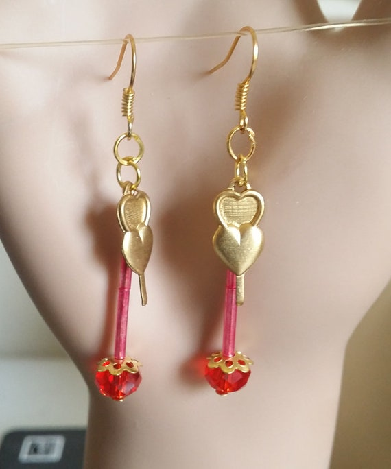 gold hearts red glass bead drop earrings long dangles handmade jewelry